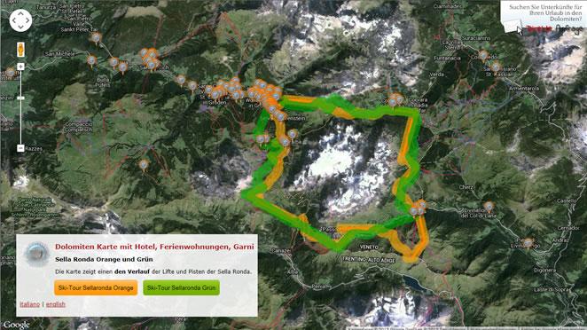 Mappa/Cartina delle Dolomiti